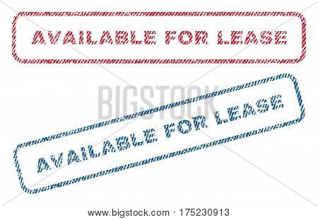 Available For Lease text textile seal stamp watermarks. Blue red fabric vectorized texture. Vector caption inside rounded rectangular shape. Rubber sign with fiber textile structure.