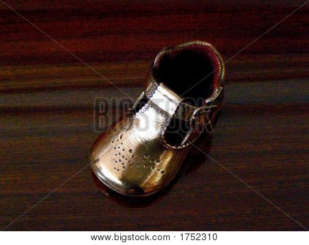 bronze baby shoe
