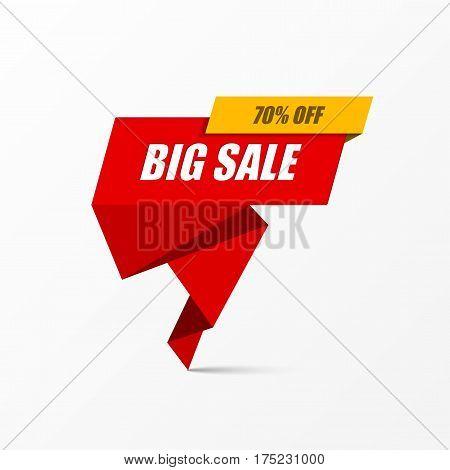 Big Sale banner poster. Special offer 70% off. Vector illustration