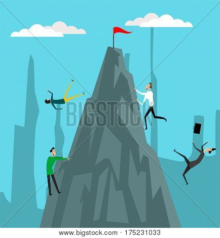 Businessmen climbing from abyss to top of the hill. Businesschallenge and competition concept illustration. Goals achivement