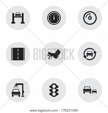 Set Of 9 Editable Traffic Icons. Includes Symbols Such As Vehicle Wash, Highway, Treadle And More. Can Be Used For Web, Mobile, UI And Infographic Design.