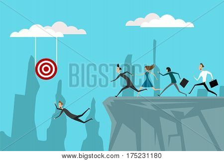 Concept of competition between employees. Career. goals achivement and the danger of falling. Flat vector design