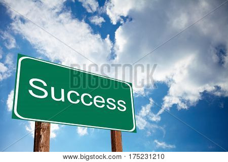 Success. Road Sign With Clouds And Sky