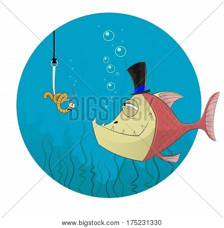 Fish and worm. Fishing concept illustration. Vector