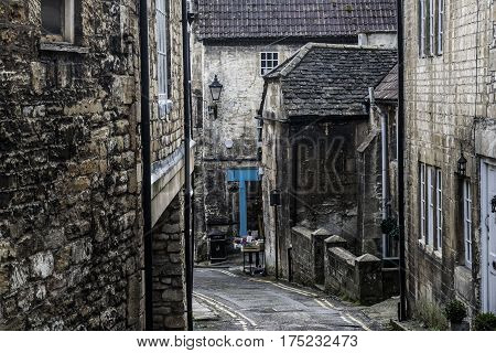 View on the street in the center town in Bradford on Avon in England.