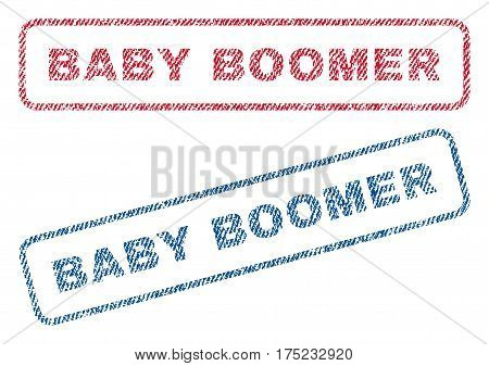 Baby Boomer text textile seal stamp watermarks. Blue, red fabric vectorized texture. Vector tag inside rounded rectangular banner. Rubber sticker with fiber textile structure.