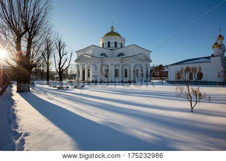 Transfiguration Cathedral in Bila Tserkva. Winter. orthodox.