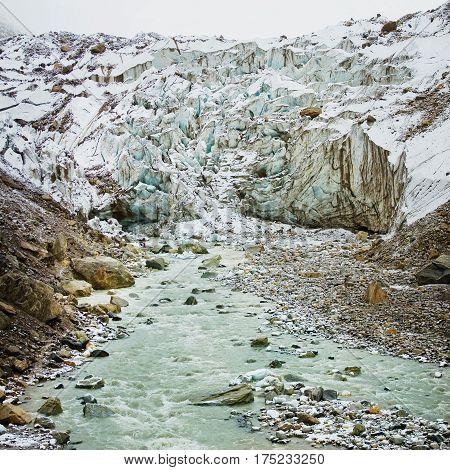 Glacier Gomukh and Ganga river in Himalayas mountain source of Shri Ganga