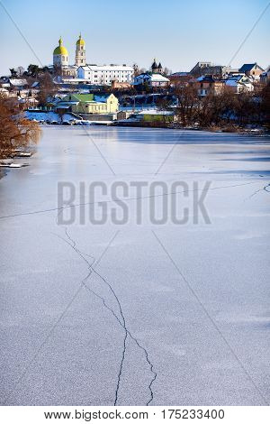 Winter. River. Bila Tserkva. orthodox. magdalene. landscape.