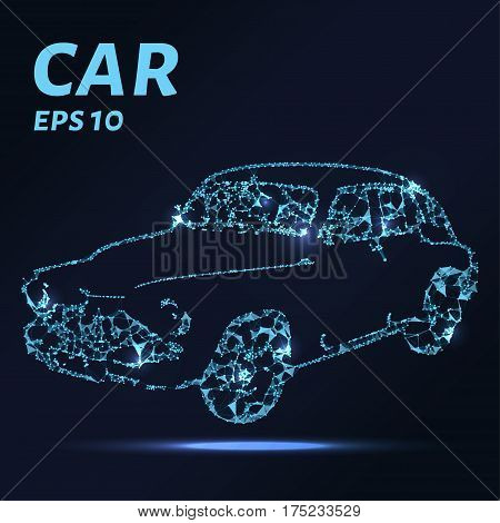 The Car Consists Of Points, Lines And Triangles. The Polygon Shape In The Form Of A Silhouette Of A