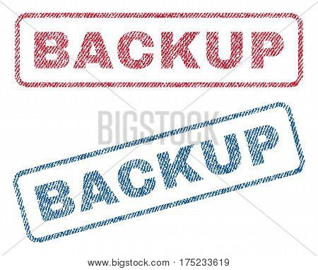 Backup text textile seal stamp watermarks. Blue red fabric vectorized texture. Vector caption inside rounded rectangular shape. Rubber sign with fiber textile structure.