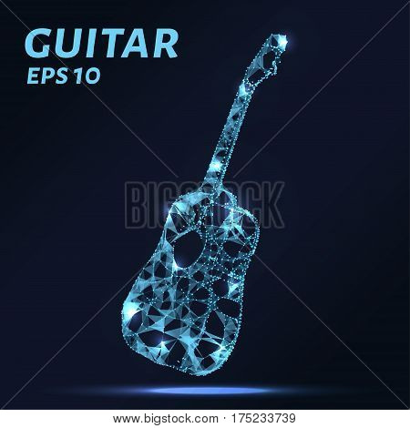 The Guitar Is Composed Of Points, Lines And Triangles. The Polygon Shape In The Form Of A Silhouette