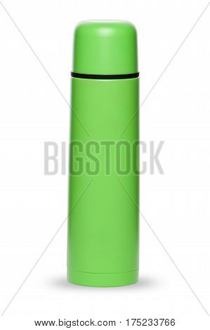 Green thermos for an active life isolated on white background