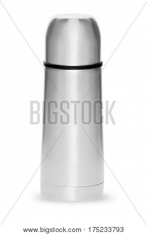Metal thermos for active life isolated on white background