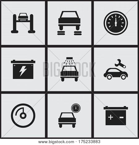 Set Of 9 Editable Car Icons. Includes Symbols Such As Car Lave, Automobile, Battery And More. Can Be Used For Web, Mobile, UI And Infographic Design.