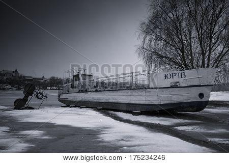 The central beach in the Bila Tserkva in winter