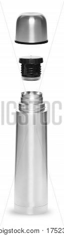 Metal thermos for an active life in the collapsible condition of the three objects isolated on white background