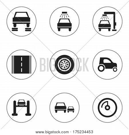 Set Of 9 Editable Vehicle Icons. Includes Symbols Such As Vehicle Wash, Highway, Auto Service And More. Can Be Used For Web, Mobile, UI And Infographic Design.