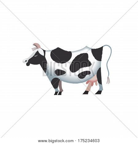 Domestic Animal icon. Dairy cattle sign. Freehand drawn cartoon style. Vector Milk cow with black spots symbol. Mammals element for poster background. Farming cow with udder, horns, hoofs illustration