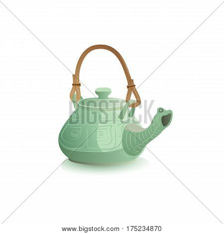 Ceramic teapot icon. Stylized Chinese porcelain teakettle isolated. Freehand drawn realistic style. Teatime accessories concept. Tableware for tea drinks in shape of green turtle. Vector illustration