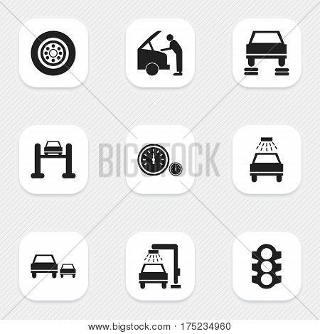 Set Of 9 Editable Traffic Icons. Includes Symbols Such As Stoplight, Auto Repair, Auto Service And More. Can Be Used For Web, Mobile, UI And Infographic Design.