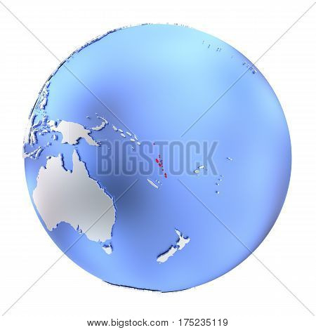 Vanuatu On Metallic Globe Isolated