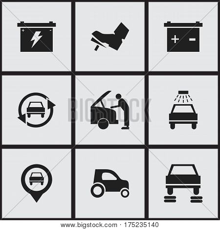 Set Of 9 Editable Transport Icons. Includes Symbols Such As Car Fixing, Treadle, Battery And More. Can Be Used For Web, Mobile, UI And Infographic Design.