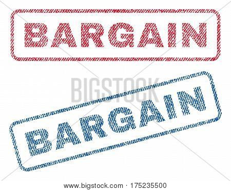 Bargain text textile seal stamp watermarks. Blue, red fabric vectorized texture. Vector tag inside rounded rectangular shape. Rubber sign with fiber textile structure.