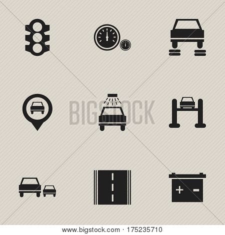 Set Of 9 Editable Traffic Icons. Includes Symbols Such As Car Lave, Highway, Stoplight And More. Can Be Used For Web, Mobile, UI And Infographic Design.