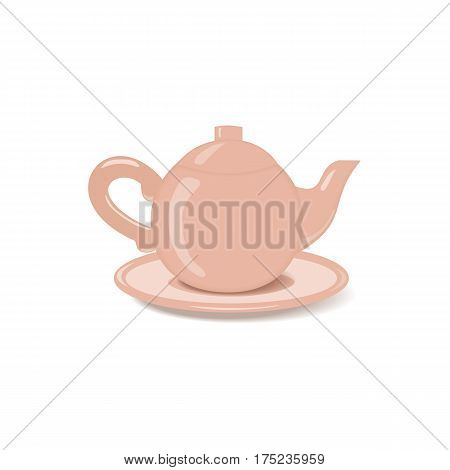 Ceramic teapot icon. Porcelain teakettle of classic shape with saucer isolated on white. Freehand drawn cartoon style. Teatime accessories concept. Tableware for tea drink. Vector element background