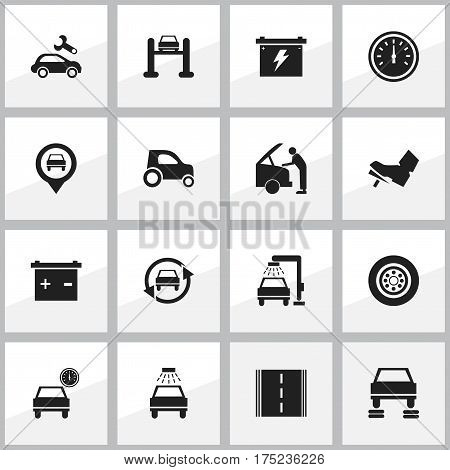 Set Of 16 Editable Vehicle Icons. Includes Symbols Such As Auto Repair, Accumulator, Vehicle Wash And More. Can Be Used For Web, Mobile, UI And Infographic Design.