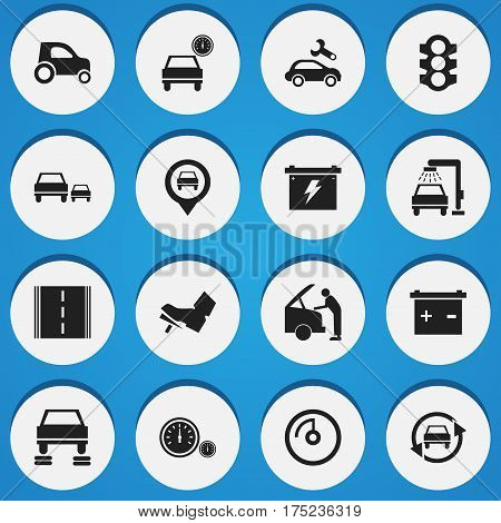 Set Of 16 Editable Traffic Icons. Includes Symbols Such As Automotive Fix, Vehicle Car, Stoplight And More. Can Be Used For Web, Mobile, UI And Infographic Design.