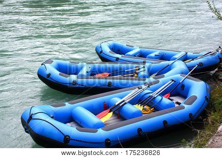 Water rafting with rafting boats on water