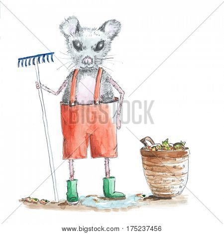 Mouse gardening with rake and basket for the leafs