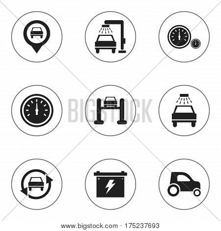 Set Of 9 Editable Car Icons. Includes Symbols Such As Car Lave, Speedometer, Auto Service And More. Can Be Used For Web, Mobile, UI And Infographic Design.