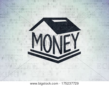 Money concept: Painted black Money Box icon on Digital Data Paper background with  Tag Cloud