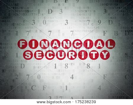 Protection concept: Painted red text Financial Security on Digital Data Paper background with Hexadecimal Code