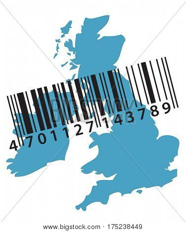 Blue outline map of the UK is overlaid with bar code