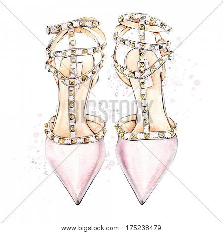 Watercolor illustration of hand painted pink women's high heel shoes
