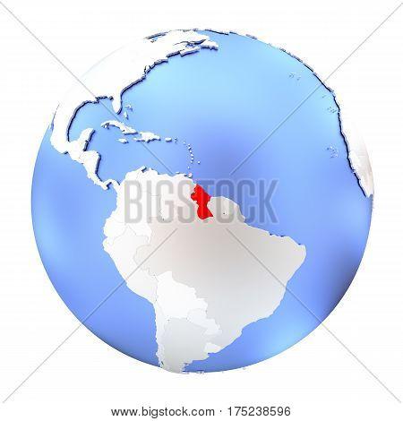 Guyana On Metallic Globe Isolated