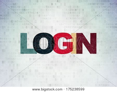 Security concept: Painted multicolor text Login on Digital Data Paper background