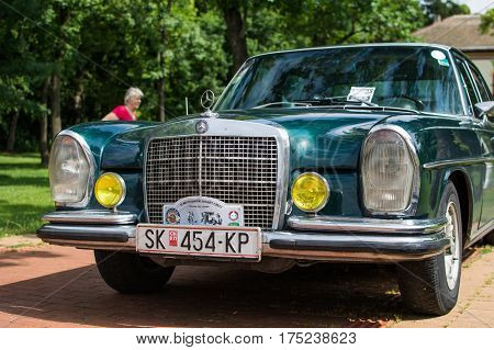 Subotica, Serbia-Jun 05,2016:Mercedes on Annual old timer public car show Subotica 2016 in Palic public park.Various vintage cars and motorcycles.Free public event for everyone, entrance with no fee.
