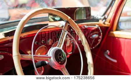 Subotica, Serbia-Jun 05,2016: Old timer Mercedes Interior on Annual old timer public car show Subotica 2016 in Palic public park.Various vintage cars and motorcycles.Free public event for everyone, entrance with no fee.