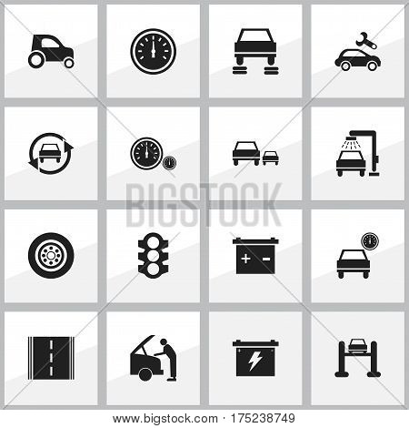 Set Of 16 Editable Traffic Icons. Includes Symbols Such As Auto Service, Stoplight, Automobile And More. Can Be Used For Web, Mobile, UI And Infographic Design.