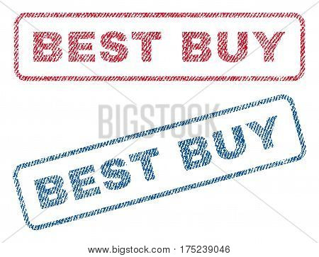 Best Buy text textile seal stamp watermarks. Blue, red fabric vectorized texture. Vector caption inside rounded rectangular shape. Rubber emblem with fiber textile structure.
