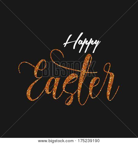 Easter background with a gold glittery typography design