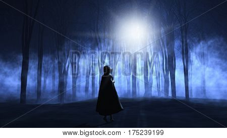 3D render of a female in cloak walking into a  foggy spooky forest