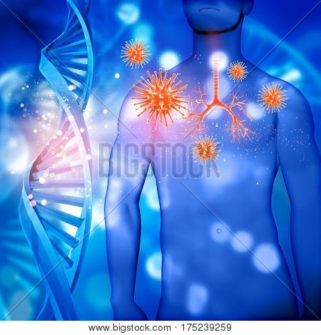 3D render of a medical male figure with bronchus highlighted, virus cells and DNA strands