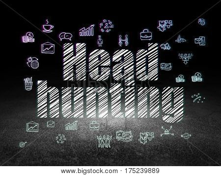 Business concept: Glowing text Head Hunting,  Hand Drawn Business Icons in grunge dark room with Dirty Floor, black background
