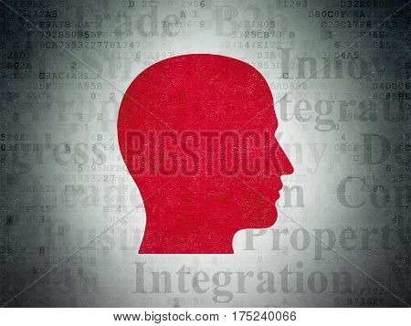 Finance concept: Painted red Head icon on Digital Data Paper background with  Tag Cloud